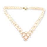 Pretty V Shape Fresh Water Pearl Woven Choker Style Necklace 42cm Long