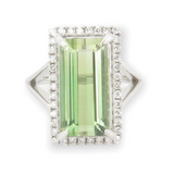 Vintage 9ct W/Gold Green Tormaline & Diamond Cocktail Ring Size L.5 Val $12400