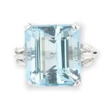 Handmade 18.25ct Aquamarine & 0.42ct Diamond 14k White Gold Ring L Val $22200