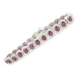 11.65ct Ruby & 4.05ct Diamond Set 18K White Gold Bracelet 18cm Long Val $34850