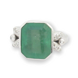 5.52ct Emerald & Diamond Set Handmade 18ct Gold Ring Size M Val $20100