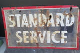 "c1930's USA GAS STATION ""STANDARD SERVICE"" DOUBLE SIDED LARGE ENAMEL SIGN."