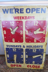 RARE c1950's/60's AMERICAN GAS STATION OPENING HOURS LARGE DOUBLE SIDED SIGN
