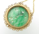 1950's 14k Gold Carved Fruit & Flowers Jadeite and Natural Seed Pearl Necklet