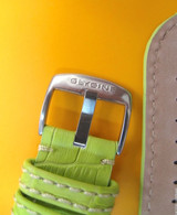 22MM GERMAN MADE GREEN LEATHER STITCHED STRAP /& STEEL BUCKLE BY GLYCINE #V