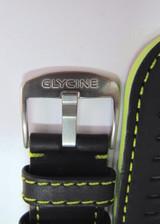 22MM HIGHGRADE BLACK LEATHER STRAP FLURO GREEN STITCHING & STEEL GLYCINE BUCKLE #C