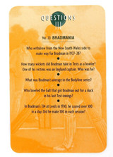 """RARE DON BRADMAN LARGE FORMAT GAME / QUIZ CARD. """"BRADMANIA"""" QUESTIONS & ANSWERS"""