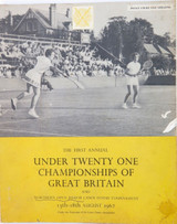 1962 RARE TENNIS PROGRAMME FULL RESULTS. UNDER 21 CHAMPIONSHIPS OF GREAT BRITAIN