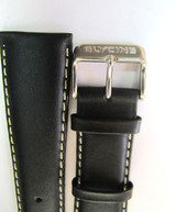 24MM XLONG SMOOTH GRAIN BLACK LEATHER STRAP & STEEL BUCKLE BY GLYCINE #N
