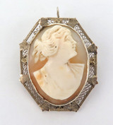 14k GOLD OCTAGONAL SHAPED ANTIQUE MK CAMEO PENDANT / BROOCH. PRICED TO SELL !!
