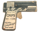 "EXCEEDINGLY RARE 1928 ""CHIPS"" BOYS MAGAZINE CIGARETTE CARD CARDBOARD SHOOTER."