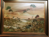 "1977 LUCETTE DALOZZO LARGE OIL ON BOARD. ""EDGE OF THE OUTBACK"""
