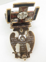 32nd Degree American Diamond Ruby & Enamel Masonic Folding Templar Pendant C1914
