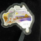 2013 AUSTRALIAN MAP SHAPED COIN, KANGAROO 1OZ 99.9% SILVER $1 + BOX & COA