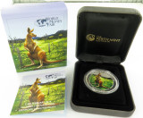 2014 WORLD MONEY FAIR COLOURED KANGAROO UNC 99.99% SILVER $1, BOX & COA.