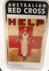 2015 AUSTRALIAN WAR POSTERS, RED CROSS, HELP 1OZ 99.99% SILVER $1 + BOX & COA.