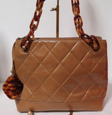 Vintage 1990s Chanel Tan Leather Tote With Tortoise Chain Link Handles