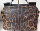 Dolce & Gabbana Large Miss Sicily Bag Leopard Coated Canvas & Leather