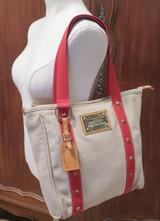 Louis Vuitton Antigua Cavas GM Tote Bag Beige & Red M40032
