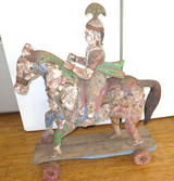 HUGE STUNNING HIGHLY CARVED  ANTIQUE TEAK INDIAN MYTHICAL TEMPLE HORSE & RIDER