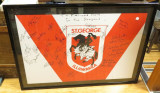 1990s ST GEORGE RUGBY LEAGUE SIGNED & FRAMED JERSEY. RAPER, PROVAN, LANGLANDS