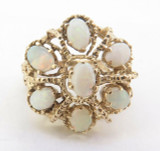 A Ladies 14K Yellow Gold Opal Cluster Dress Ring Size M Val $2725
