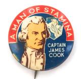 VINTAGE MEN OF STAMINA TIN BUTTON / BADGE. CAPTAIN JAMES COOK.