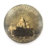 "SCARCE WW2 1941 ""H.M.A.S. SYDNEY JACK'S DAY 1941"" TIN BUTTON / BADGE."