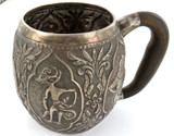 ANTIQUE SILVER SOUTH EAST ASIAN LARGE MUG WITH ANTLER HANDLE.