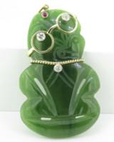 Vintage Nephrite Jade Hei Tiki 18K Gold 0.66ct Diamond Set Pendant Val $5955