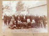 c1880 RARE AUSTRALIAN CRICKET GROUP PHOTO. GEELONG, BROWN & GOLD TEAMS ?
