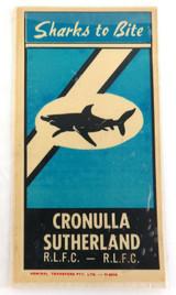 "EARLY 1970s CRONULLA SHARKS UNUSED STICKER / TRANSFER ""SHARKS TO BITE""."