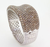 Roberto Coin Fantasia 18k White Gold 27.3ct VS Diamond Pave Set Bangle Val$53900