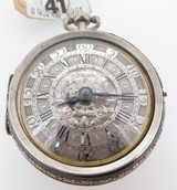 C.1700 PIERRE TOLLOT SILVER CHAMPLEVE PAIR CASED VERGE POCKET WATCH