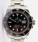 Auth 2014 Rolex Ceramic Submariner Steel Wrist Watch Full Box Set 116610LN