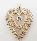 A Large 14K Yellow Gold & 4.50ct Diamond Set Heart Cluster Pendant Val $16775