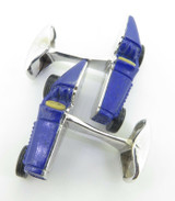 A Fine Pair Of Paul Longmire 18k Gold Lapis Lazuli Vintage Car Cufflinks
