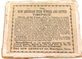 "RARE 1800s ""NEW AMERICAN STEM WINDER & SETTER"" SUNDIAL POCKET WATCH DISPLAY BOX."