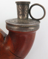 c1860 HUGE FULL BENT BILLIARD PIPE WITH ENGLISH STERLING SILVER COLLAR.