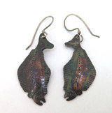 Handmade Unusual Stylised Sole Fish Patinated Sterling Silver Earrings 4.78g