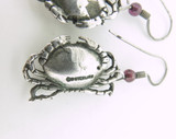 Cute Crab Earrings with Great Detail in Sterling Silver & Garnet Beads 7.84g