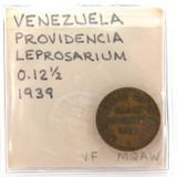 SCARCE 1939 ISLA DE PROVIDENCIA LEPER COLONY COIN, VENEZUELA 12 1/2 BOLIVAR.