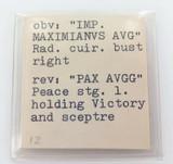 cAD 292 ANTONINIANUS EMPEROR MAXIMIANUS Rv PAX AVGG 2.8 GRAMS 20mm-23mm COIN