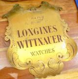 Vintage Longines Wittnauer Watches Agency Ornate Engraved Brass Large Sign