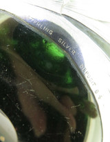 Antique Art Nouveau Period Green Glass & Sterling Silver Overlay Perfume Bottle