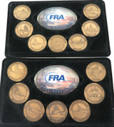 FRA COLLECTOR'S SERIES, 14 x BRONZE MEDALLIONS. US WARSHIPS.