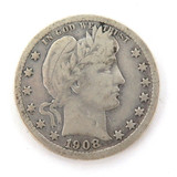 1908 US SILVER QUARTER DOLLAR.