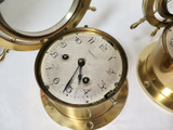 Antique Waterbury U.S.A Heavy Brass Ships Wheel Clock & Barometer Set