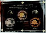 SUPER RARE L/ED 2000 JACKSONVILLE JAGUARS MEDAL PROOF SET. GOLD & SILVER.