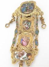 DUFALGA C.1770 GOLD ENAMEL & DIAMOND SET REPEATING VERGE POCKET WATCH CHATELAINE
